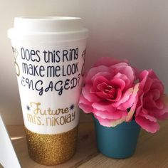 Custom Glittered Coffee Tumbler// Does this Ring make me look Engaged? by TheGlitteredPeaPod on Etsy https://www.etsy.com/listing/226572091/custom-glittered-coffee-tumbler-does