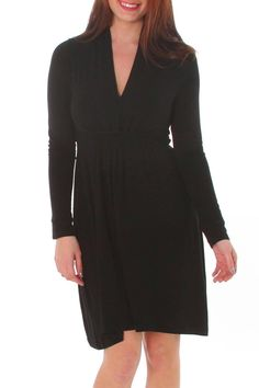 Super soft long sleeve jersey dress. Gathered waist line. Non-plunging v-shaped neckline. Easy fit design.   Long Sleeve Jersey Dress by vFish designs. Clothing - Dresses - LBD Clothing - Dresses - Long Sleeve Georgia
