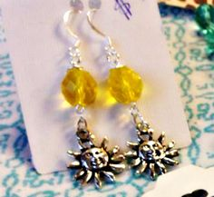 Let the SUN SHINE in with these cute sun charms and  lemony yellow Czech glass earrings by SparkleCatStudio,
