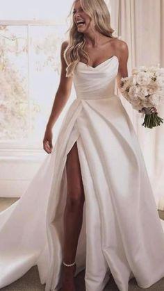 Slit Wedding Dress, Sweetheart Wedding Dress, Princess Wedding Dresses, Simple Elegant Wedding Dress, Unique Wedding Shoes, Boho Wedding, One Shoulder Wedding Dress, Dream Wedding, Wedding Ideas