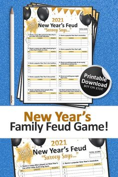 Family Feud Game, Family Games, New Years Eve Games, New Year's Games, New Year Diy, Printable Christmas Games, New Years Eve Party, Party Printables, Party Games