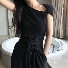 Autumn And Summer Solid Color Slim Knitted Tee Batwing Sleeve Women Short Sleeve Asymmetric Tee Shirt Tee Shirts, Tees, Cheap T Shirts, Batwing Sleeve, Bat Wings, Slim, Autumn, Clothes For Women, Alibaba Group