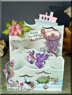 Under the Sea – Triple Easel Card – Castlepark Designs Tri Fold Cards, Fancy Fold Cards, Folded Cards, Tarjetas Pop Up, Heartfelt Creations Cards, Step Cards, Shaped Cards, Easel Cards, Card Tutorials