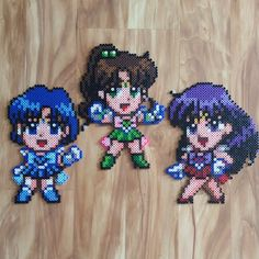 Sailor Mars, Sailor Jupiter and Sailor Mercury perler beads by dazer24