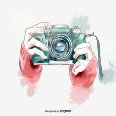 Hand-painted Watercolor Green Camera Hand Elements PNG and PSD Camera Logo, Camera Art, Slr Camera, Camera Painting, Camera Drawing, Camera Cartoon, Cartoon Art, Hand Clipart, Camera Illustration