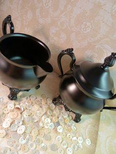 Sugar bowl and creamer in Satin black - Vintage Silverplate Upcycled by BMC Vintage Design Studio in powder enamel