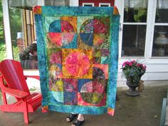 Sunset at The Lake - Modern Circle Quilt by Heather Hughes