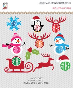 Christmas Monogram set DXF SVG PNG Snowman anlter snowflake sleigh deer winter, Silhouette studio,  Cricut Design, Sure Cuts, Makes the Cut by SvgCutArt on Etsy