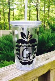 Chevron Apple Initial ~ Personalized Tumbler ~ Perfect Teacher Gift ~Regular & Skinny Available!  ! by FourWinks on Etsy