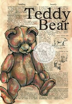 Items similar to PRINT: Teddy Bear Mixed Media Drawing on Distressed, Dictionary Page on Etsy Book Page Art, Art Pages, Altered Books, Altered Art, Newspaper Art, Dictionary Art, Bear Art, Art Journal Inspiration, Art Studios
