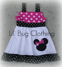 Custom Boutique Clothing Minnie Mouse Pink and Black Dots Jumper Dress