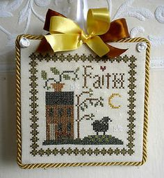 Completed finished cross stitch ornament hanger Little House Needleworks Faith