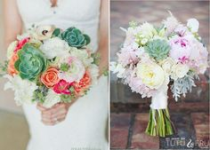 succulent and peonies | Succulents paired with peonies- the perfect spring bouquet.