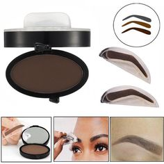 BangGood - Eachine1 Eyebrow Stamp Powder Enhancer Mineral Brown Makeup Pigments Cosmetic Palette Definition Arched Shaped - AdoreWe.com