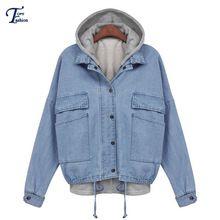 Hoodies chaqueta marca Sheinside venta de Hot Spring Casual mujeres Outwear moda azul con capucha de manga larga con cordón Denim abrigo(China (Mainland))