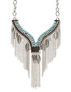 Turquoise Rhinestone V Fringe Statement Necklace