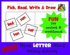 This is a FUN activity for learning and practicing 3 Letter Words! Word Study Activities, Phonics Activities, Three Letter Words, Cvc Words, Phonics Rules, Learn To Read, School Fun, Teaching Kids, Homeschool