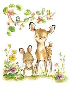 """Children's Art -- """"DEER FRIENDS"""" -- Archival Print by trafalgarssquare on Etsy https://www.etsy.com/listing/230601801/childrens-art-deer-friends-archival"""