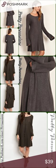 """NWT Dark Olive Long Sleeve Cozy Knit Sweater Dress NWT Dark Olive Long Sleeve Cozy Knit Sweater Dress  Available in S, M, L Measurements taken from a small  Length: 34"""" Bust: 36"""" Waist: 38""""  Viscose/Nylon/Poly  Features • long sleeves  • scoop neckline  • soft, breathable material  • relaxed, easy fit w/stretch  ** Also Available in Wine **  Bundle discounts available  No pp or trades   Item # 1/1011230390OGSD olive green knit sweater dress sweater weather fall style winter style Pretty…"""