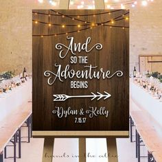 Wedding adventure sign printable direction reception arrows adventure begins string lights big welcome signage customized PDF DIGITAL by HandsInTheAttic
