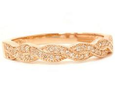 Vintage 1/5CT REAL Diamond Filigree Wedding Stackable Ring 14K Rose Gold Sizes 4-9