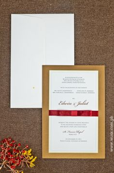 Executive | Written in Ink #winkinvitations #wedding #invitation #gold #red #ribbon #formal #layered Four O Clock, Invitation Ideas, Red Ribbon, Wedding Invitations, Marriage, Ink, Writing, Formal, Gold