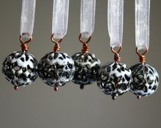 Miniature Handmade Christmas Ornaments - White Torch Fired Enamel - Set of 5
