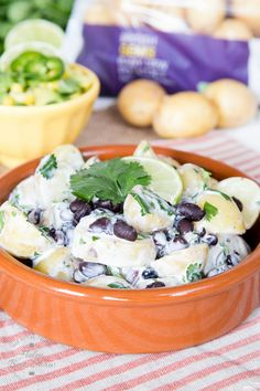 You will love this easy healthy potato salad with a south American twist of added black beans, lime & coriander, served with an avocado and sweetcorn salsa