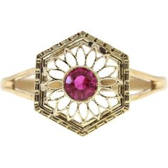 Vintage Natural Ruby 14k Yellow Gold Conversion Stick Pin Ring  - found at www.rubylane.com @rubylanecom