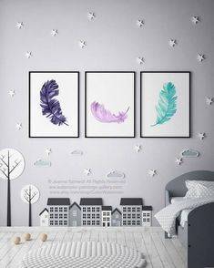 Canvas Feather set of 3 Illustrations. Purple Violet and Teal Watercolour Art Print. Colorful Painting Minimalist Animal Illustration. Kids Room Nest Bird Feathers Picture Drawing.  In the first Picture the Feathers are printed on off-white canvas: Width: 23  - 59,4cm Height: 33  -