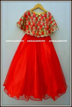 by Angalakruthi # Kids frock with red colour cape Baby Girl Frocks, Frocks For Girls, Dresses Kids Girl, Kids Dress Wear, Kids Gown, Kids Frocks Design, Baby Frocks Designs, Baby Girl Frock Design, Kids Blouse Designs