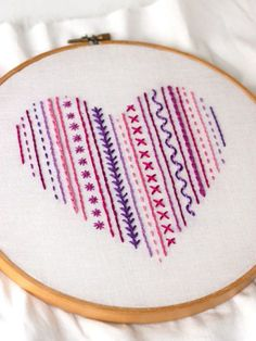 Crewel Embroidery Ideas DIY: Heart Embroidery Sampler (For Beginners) - We've found these 15 easy hand embroidery patterns that are not only great for beginners, they're also perfect for gift giving. Crewel Embroidery, Learn Embroidery, Hand Embroidery Stitches, Silk Ribbon Embroidery, Embroidery Hoop Art, Hand Embroidery Designs, Embroidery Techniques, Cross Stitch Embroidery, Embroidery Ideas