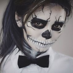 """Day of the dead makeup!  As you guys requested, I'm gonna show you guys how to do this black and white Sugar Skull makeup that I wear on Halloween night.…"""