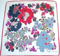 28a09814723 Christian Dior vintage silk scarf - Red and navy blue floral print - Medium