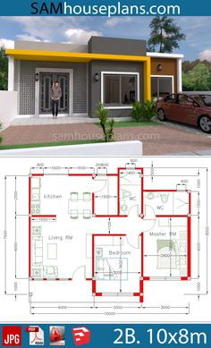 Simple Home Design Plan with 2 Bedrooms plot This villa is modeling by SAM-ARCHITECT With One story level. It's has 2 bedrooms with Small Modern House Plans, Beautiful House Plans, My House Plans, House Layout Plans, 2 Bedroom House Plans, Simple House Design, House Front Design, Modern House Design, Bungalow Haus Design