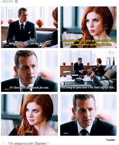 Harvey Specter & Donna, Suits Worried much? Harvey Specter Suits, Suits Harvey, Suits Show, Suits Tv Shows, Best Tv Shows, Movies And Tv Shows, Donna Harvey, Gabriel, Donna Suits