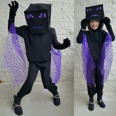 Child dressed as the Ender Dragon from Minecraft. Minecraft Halloween Ideas, Minecraft Costumes, Halloween Yard Decorations, Minecraft Party, Halloween Crafts For Kids, Halloween Party, Minecraft Room, Minecraft Crafts, Minecraft Ideas