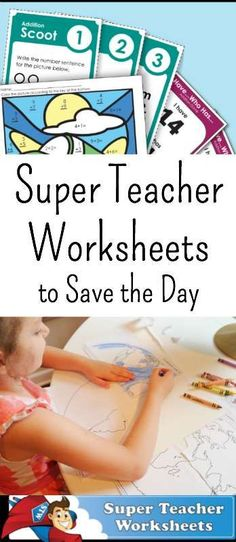 Super Teacher Worksheets to Save the Day!  When I was in school, one of my favorite things to do were worksheets. I was so excited to review Super Teacher Worksheets and share this love with my first grader and preschoolers. And it's super affordable!