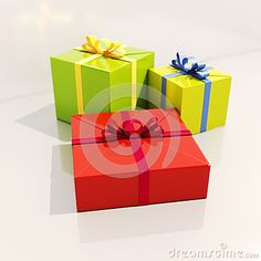 Three Gift Boxes with Ribbons Close Up, Shallow Depth of Field, Selective Focus, Gift Boxes for Xmas