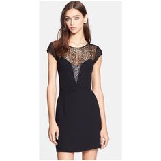 """The Kooples - Leather & Lace Sheath Dress - size L Worn only once. LBD. Please know your size in The Kooples since runs small. I'm normally size Small.  A tactile lace net composes the yoke and slices the sides of a little black dress, while supple lambskin leather grids the V-insert for a sleek style rich with varied texture. 36"""" length . Partially lined. 100% polyester; 70% cotton, 30% nylon lace; lambskin leather trim. Professional leather clean. By The Kooples; imported The Kooples…"""