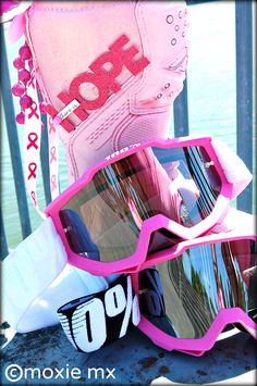pink ribbon.  motocross.  breast cancer awareness.  100%
