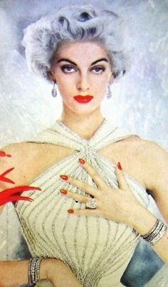 Carmen Dell'Orefice for Revlon cosmetics, 1950s.                                                                                                                                                                                 More