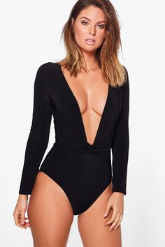 Nadia Deep V Neck Long Sleeve Bodysuit