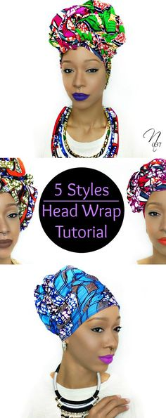 5 different & easy head wrap/turban styles tutorial