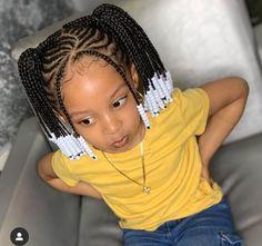 Black Kids Braids Hairstyles, Little Girls Natural Hairstyles, Toddler Braided Hairstyles, Toddler Braids, Baby Girl Hairstyles, Braids For Kids, School Hairstyles, Kids Braids With Beads, Protective Hairstyles