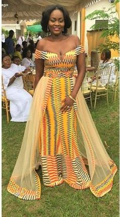 60 Beautiful Kente styles to try - Ankara Lovers African Wedding Attire, African Attire, African Wear, African Women, African Dress, Ghana Wedding Dress, African Print Wedding Dress, African Prom Dresses, Latest African Fashion Dresses