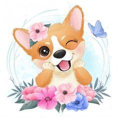 Baby Animal Drawings, Cute Drawings, Watercolor Flower Background, Flower Watercolor, Watercolor Design, Baby Animals, Cute Animals, Vintage Floral Backgrounds, Cute Cartoon Girl