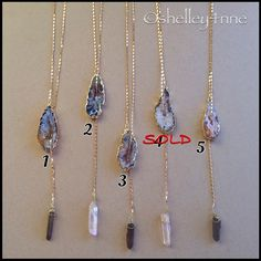 Gold Druzy Tie Necklace By California-based boho-chic jewelry designer Function & Fringe   Handmade in USA   A Lovely Single Crystal Suspends Through 18K Gold Plated Druzy Agate   Adjustable Length   Clasp features the signature black Swarovski crystal & 18k gold plated feather   ✨COMMENT BELOW AND I WILL CREATE YOUR PERSONAL LISTING OR FIND INDIVIDUAL LISTING✨ Function & Fringe Jewelry Necklaces