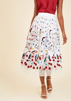 Elegance in Actuality Midi Skirt | Mod Retro Vintage Skirts | ModCloth.com Crafting an impactful look starring this floral midi skirt may seem daunting, but we ensure that it's easy as can be! Sophistication just became a breeze to achieve, for this pocketed ModCloth exclusive's white mesh overlay, gorgeous embroidery, and dimensional appliques do the work, and inspire your best outfits yet!