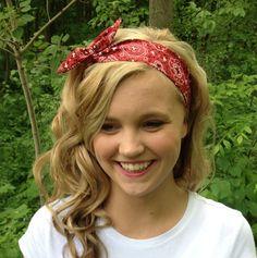 Red Rosie Wired Headband in Bandana Print Summer Trend Headwrap on Etsy, $13.00